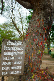 The Killing Fields tree against which executioners beat children to death during the genocide.