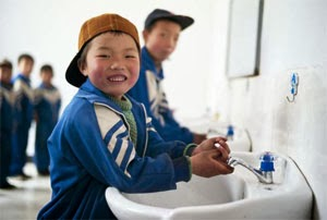 Children use clean sanitation facilities at a school in Xihe County, China Research has shown that sanitation impacts on academic performance