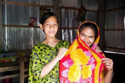 Arjina, 13, from Bangladesh with her mother. Her parents agreed to delay her marriage until she was 18 after hearing arguments against child marriage
