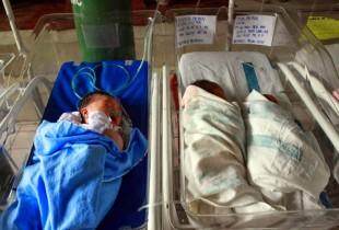 Infants in a hospital in Tacloban, Philippines, in 2013. Typhoon Haiyan increased the risk of newborn death as many health facilities were damaged