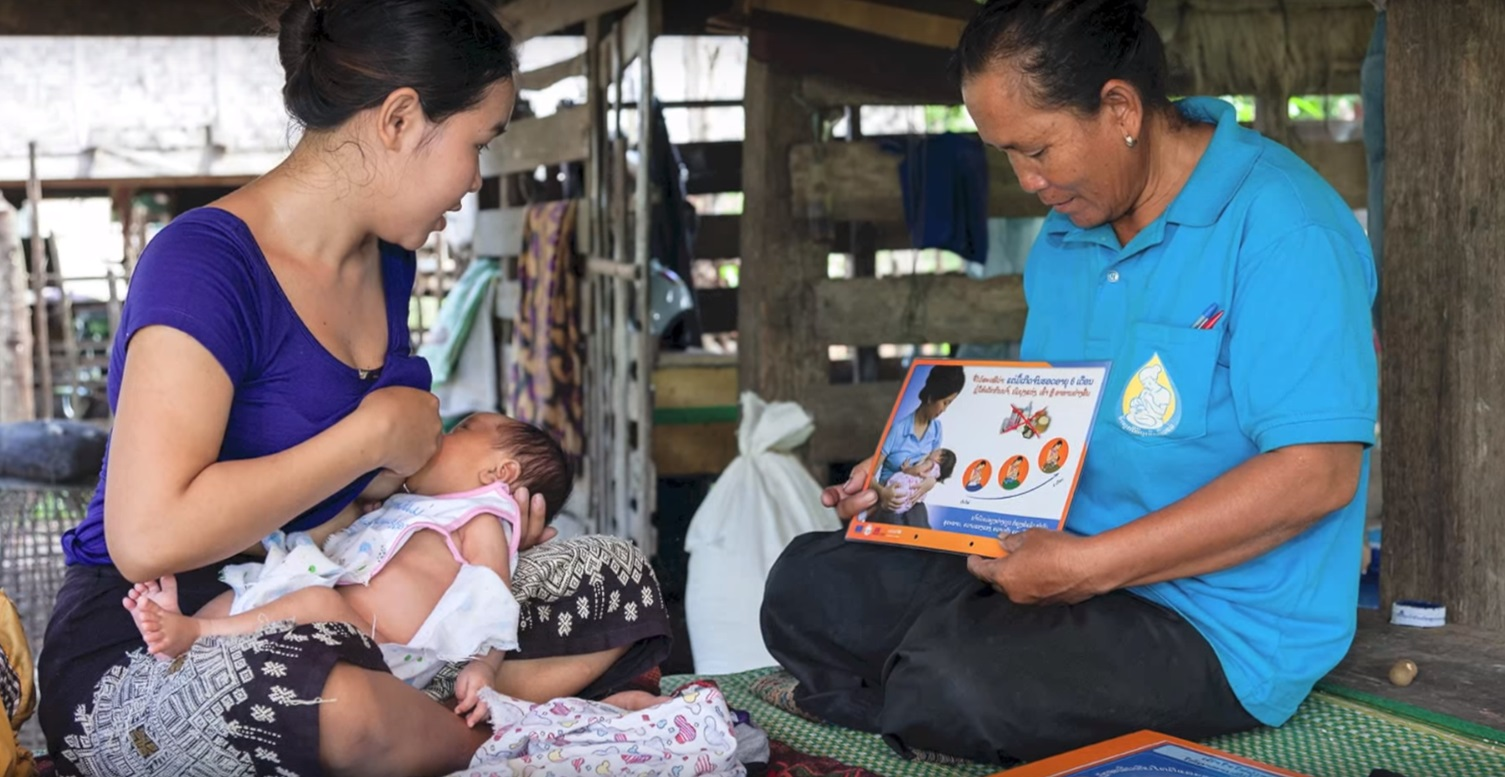 Wie, left, learns how to keep her new baby, and herself, healthy.