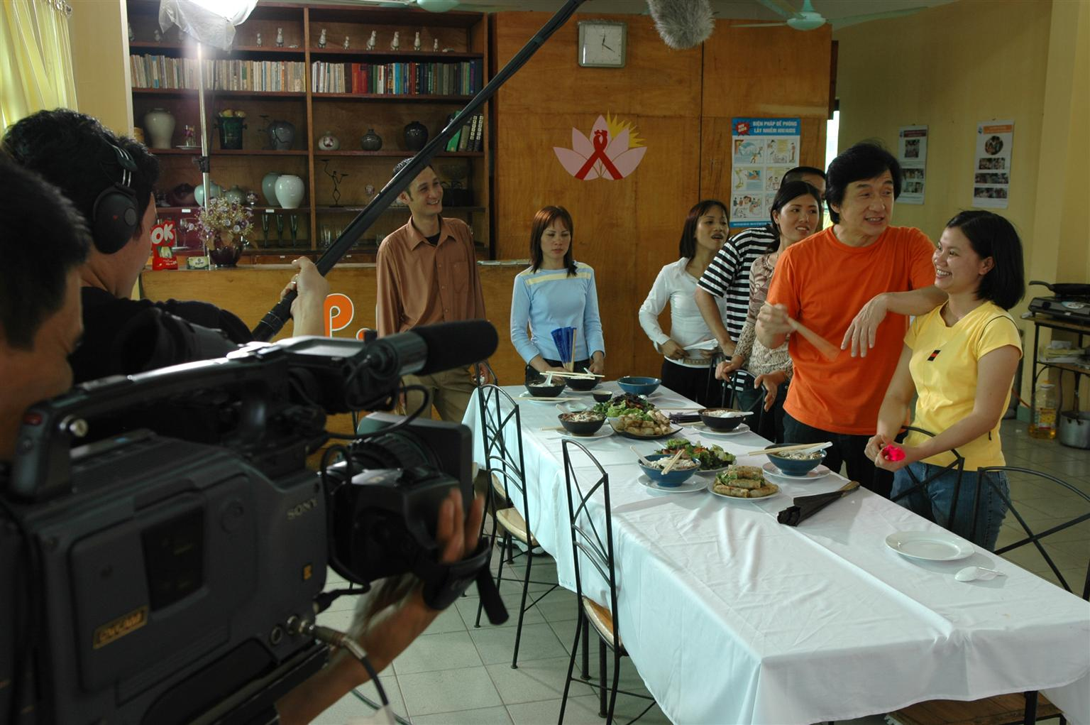 Jackie Chan, Unicef Goodwill Ambassador, shoots the MDG TV Spot ( goal no. 6 on HIV/AIDS) for UN television series at training school for disadvantaged youths at the Hoa Sua School.Linh Nam Commune, Hoang Mai district Hanoi