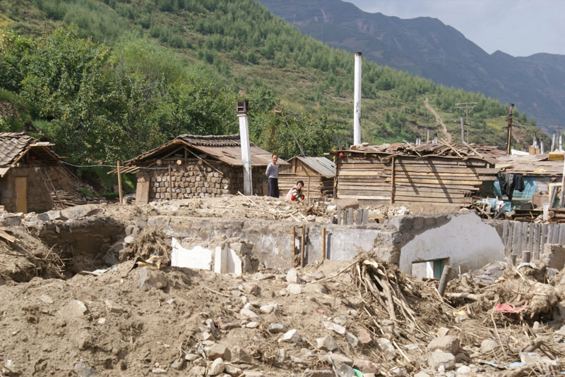 Haksan Ri in Musan County, DPR Korea, was heavily damaged by flooding.
