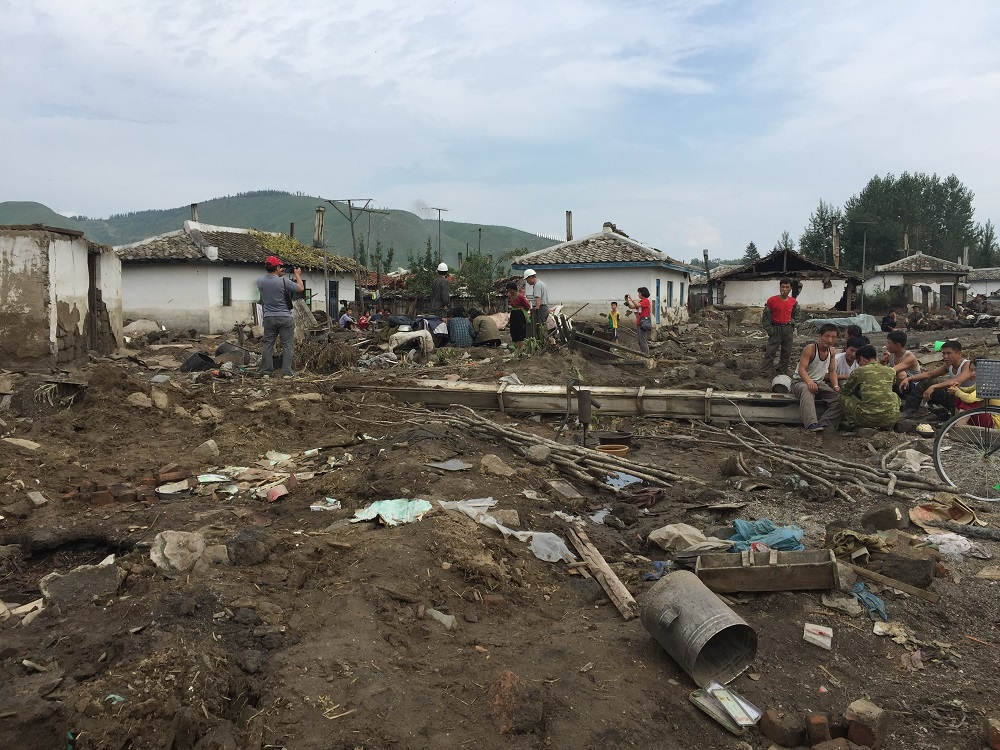 A badly damaged residential area in Hoeryong City, DPR Korea, following devastating floods in the north of the country.