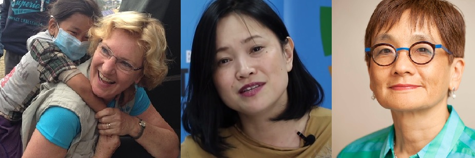 Karin Hulshof, UNICEF, Miwa Kato, UN Women, and Yoriko Yasukawa, UNFPA answer girls' question