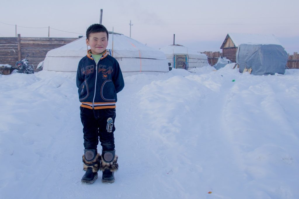 "Tamir in front his ""ger,"" a traditional Mongolian housing"
