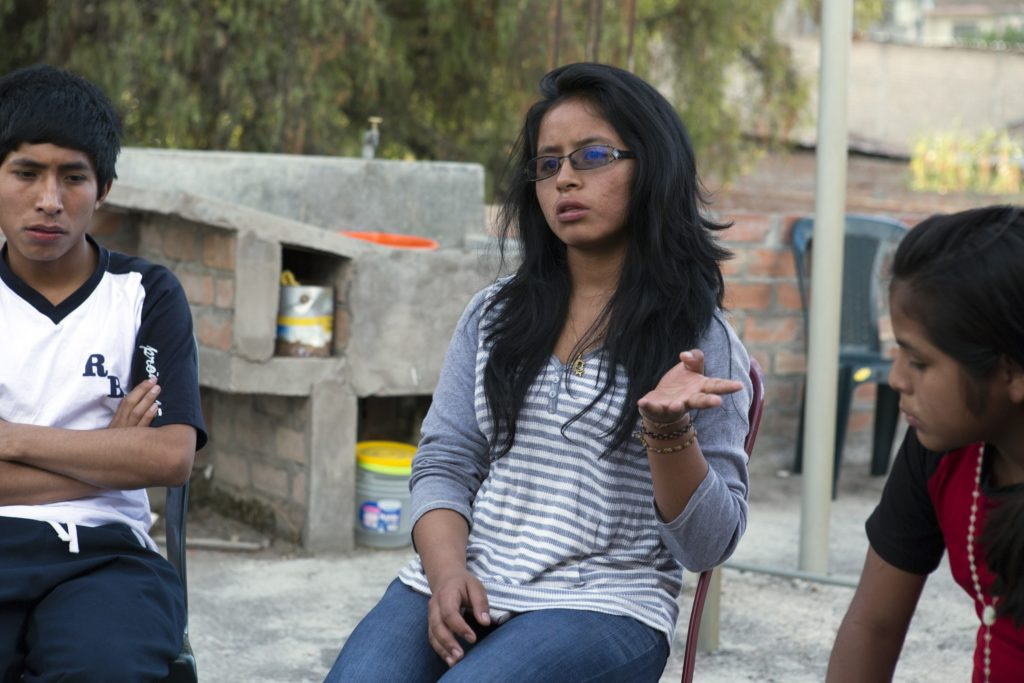 In Huamango, Ayacucho, Peru, 16 year-old Solange Felix Andres Flores attends a youth group where violence in school and at home are hot topics of discussion.