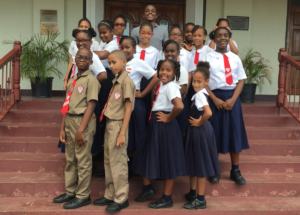 Photograph of Charles Young, a Jamaican Youth Ambassador for the UN General Assembly, ran a Youth Talk at St. Richard's Primary in Kingston to hear their solutions to #ENDviolence in schools.