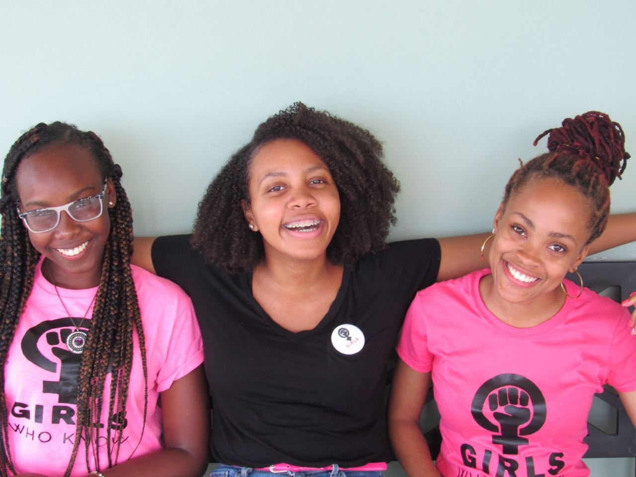 Photograph of Girls Who Know Ja President Chelsea Wright (right) together with vice-presidents Antonette Hines (left) and (Kari Buchanan)