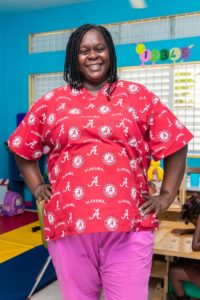 Photograph of Nadine Bowen, a teacher at Early Stimulation Plus in Rockfort, eastern Kingston.