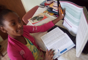 Oshea Meaks, 11, a student at Snowdon Primary and Infant School in Manchester learning at home during COVID-19.