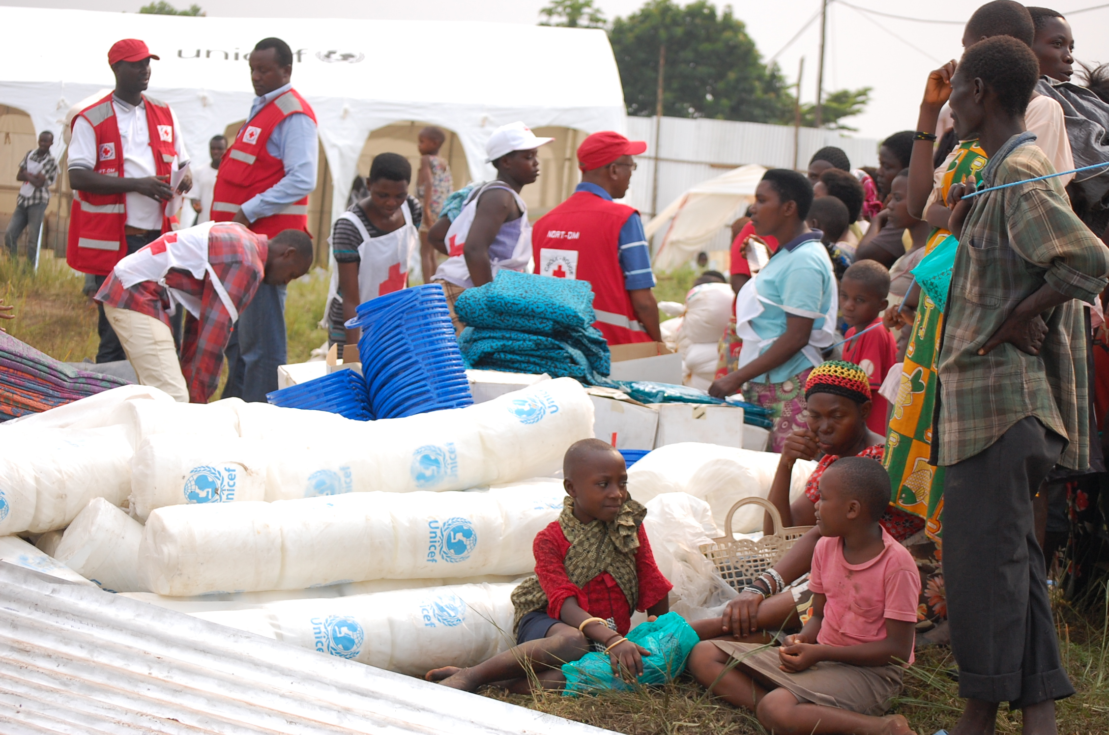 Children in the Buyengero camp for families displaced by the floods.