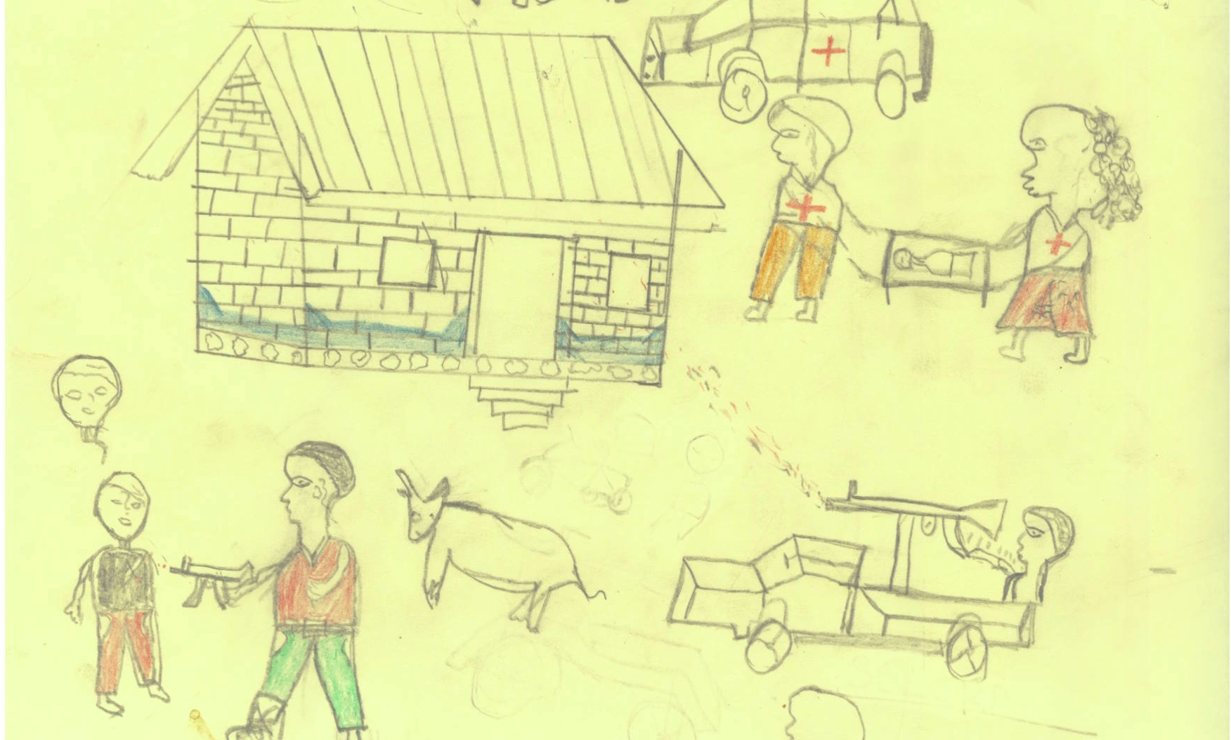The drawings of children in Chi;d Friendly Spacses in Central African Republic shows the trauma and violence they have witnessed - but they are also helping children heal, and in some cases helping with reunification.