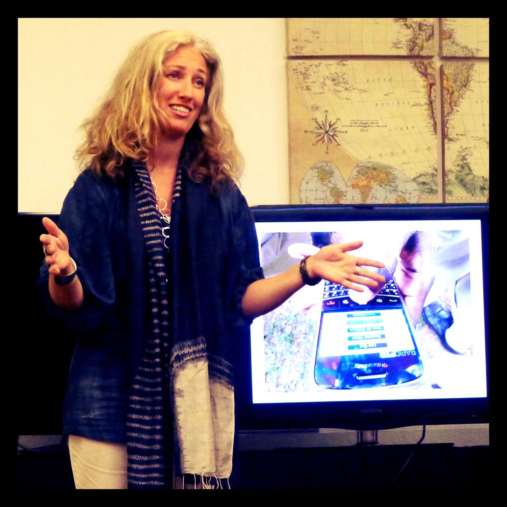 Pernille Ironside, from UNICEF Palestine, presented RapidFTR to Singularity University students. © UNICEF 2014/Holmes