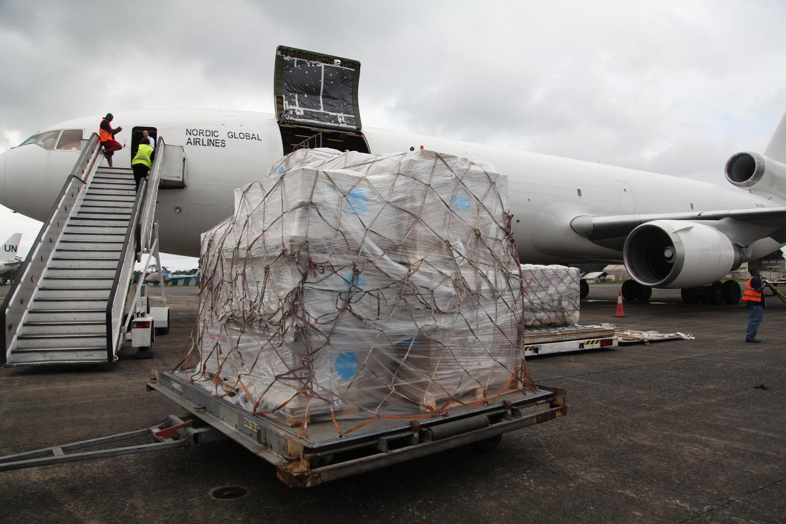 Emergency supplies arrive in Monrovia earlier in August.