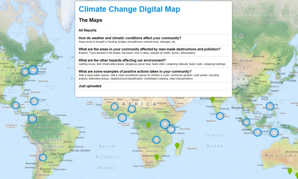 The Voices of Youth Climate Change Map.