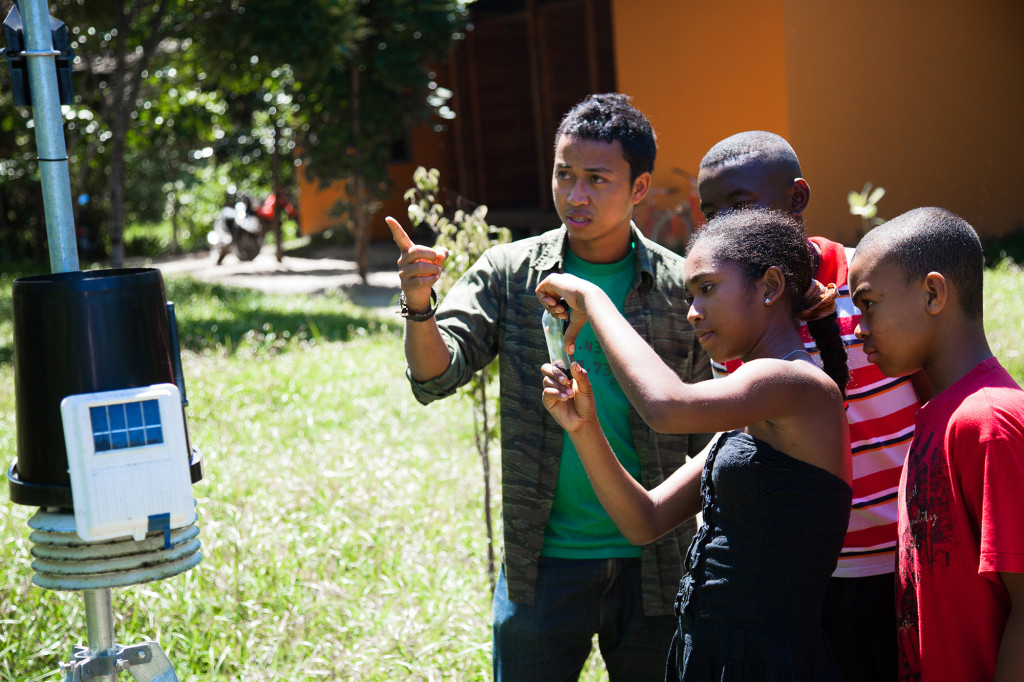 A group of young digital mappers from Madagascar, documenting their surroundings.