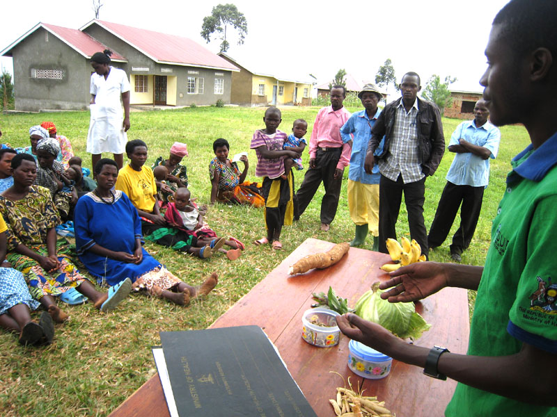 A nutrition education session for villages in Uganda, as part of the Africa Nutrition Security Partnership.