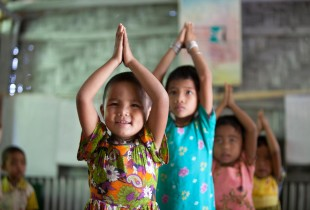 Children practice dancing at a centre in Bangladesh.
