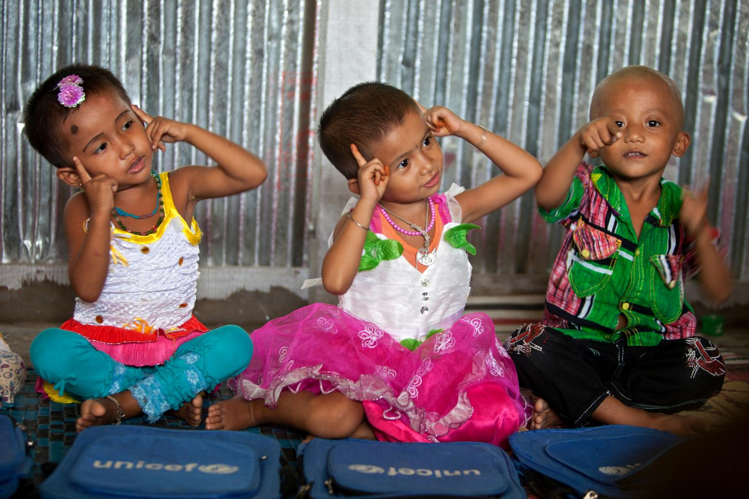 Children practice rhymes during class at supported by UNICEF in Rangamati, Bangladesh.