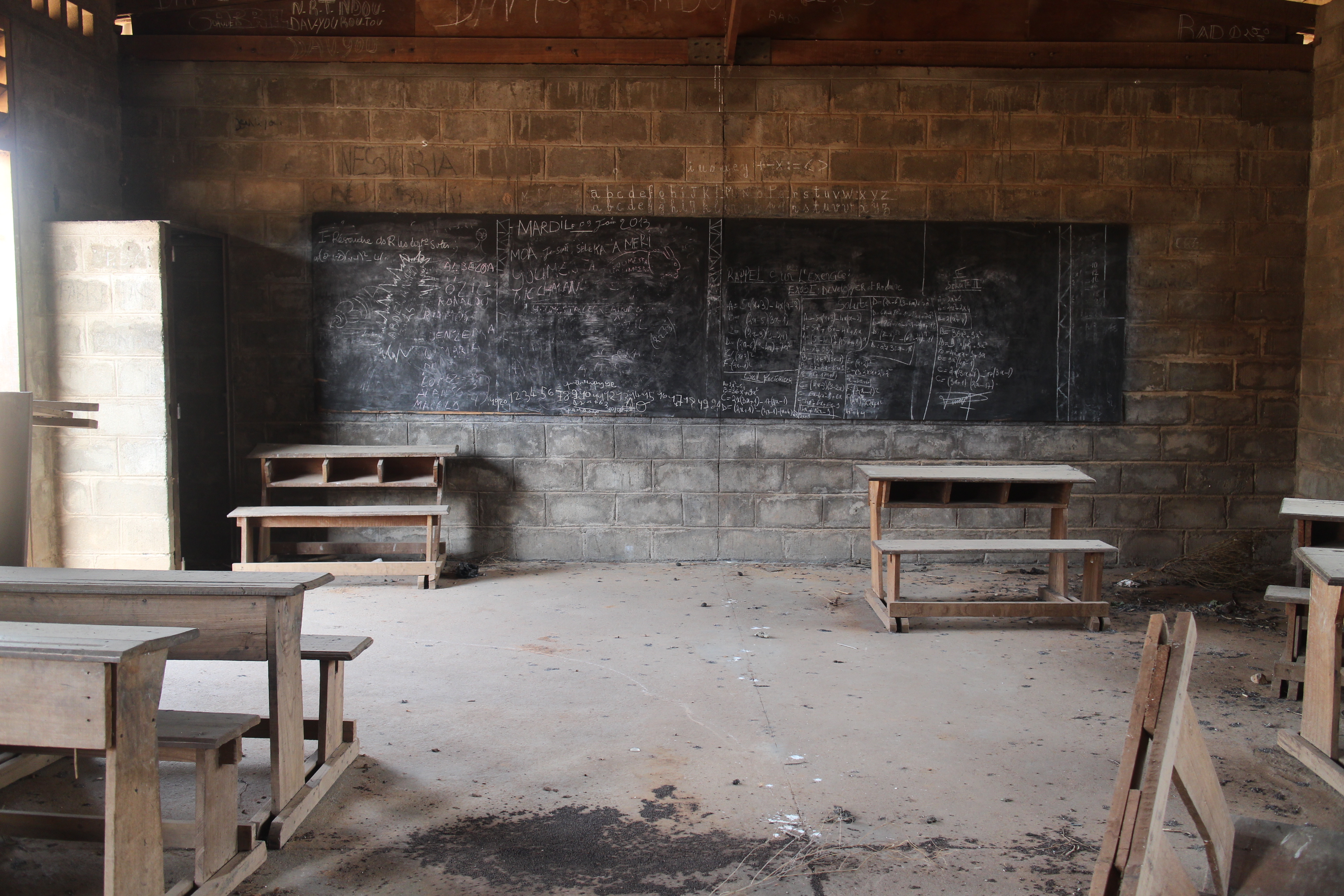 A classroom in Central African Republic - abandoned due to insecurity.