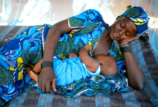 A woman breastfeeds her baby under a mosquito net, in the village of Garin Badjini, Niger.