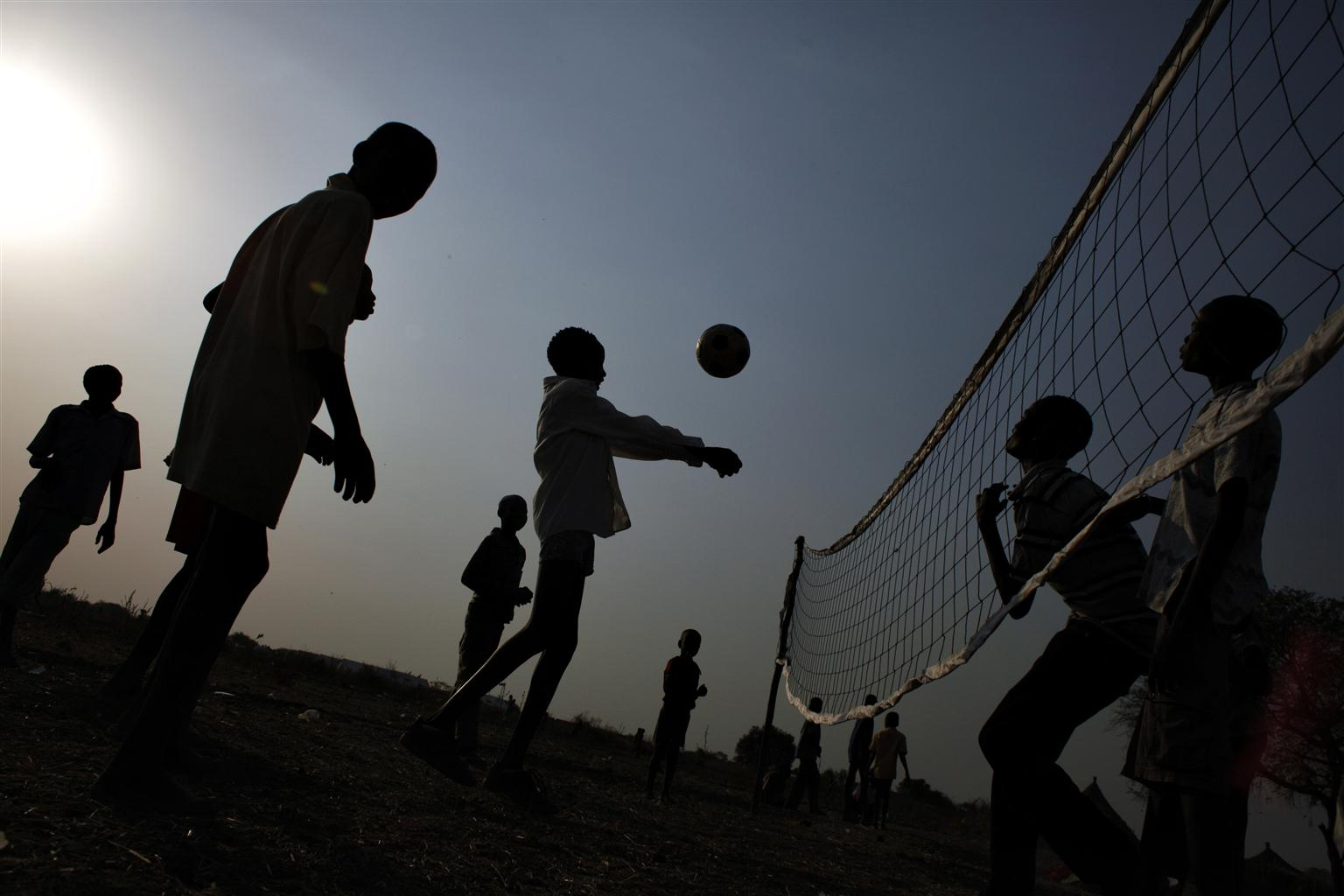Taken in 2012, this photo shows a group of boys displaced by violence, playing in a UNICEF-supported child friendly space.