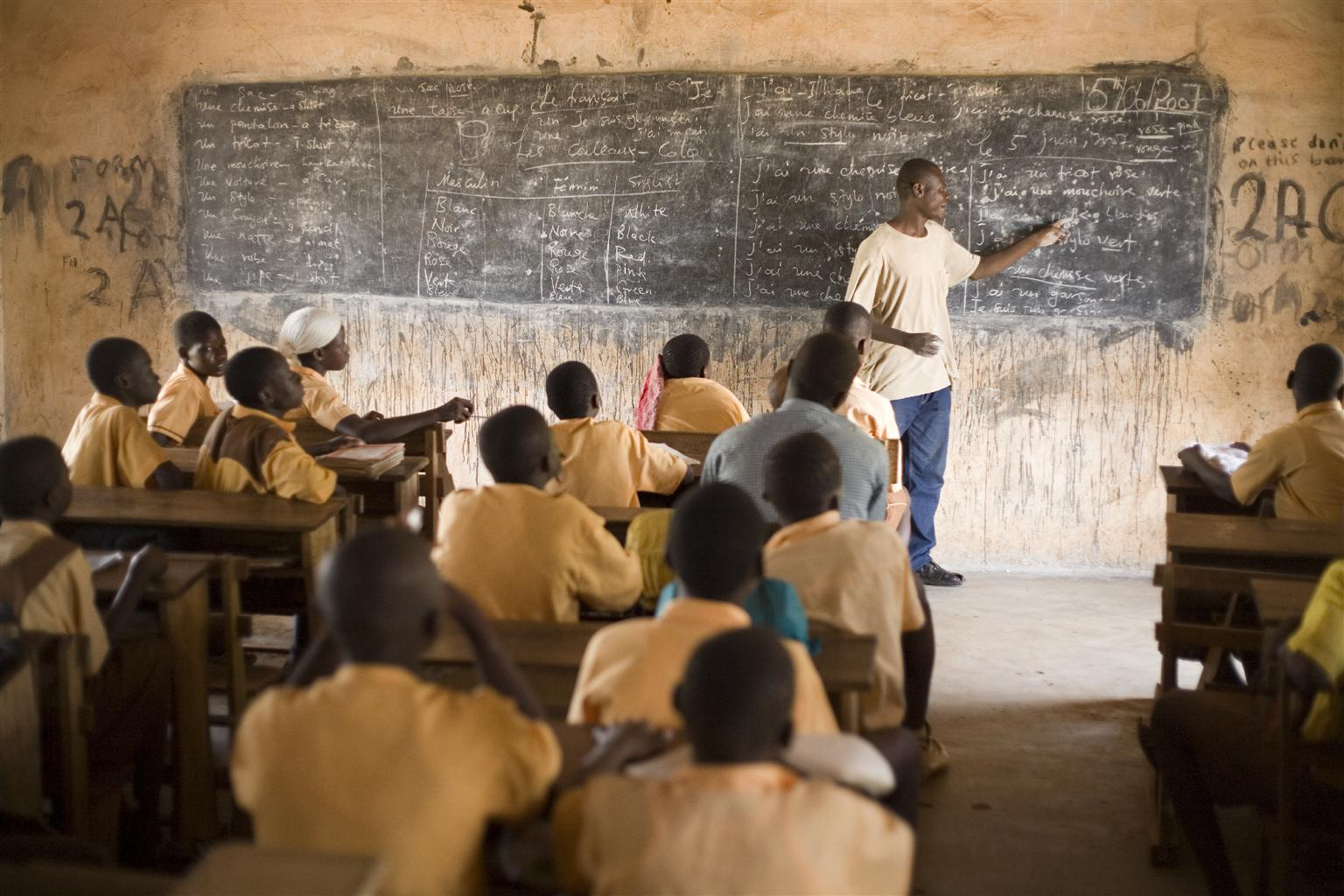 Children attend French class at a school in Ghana.