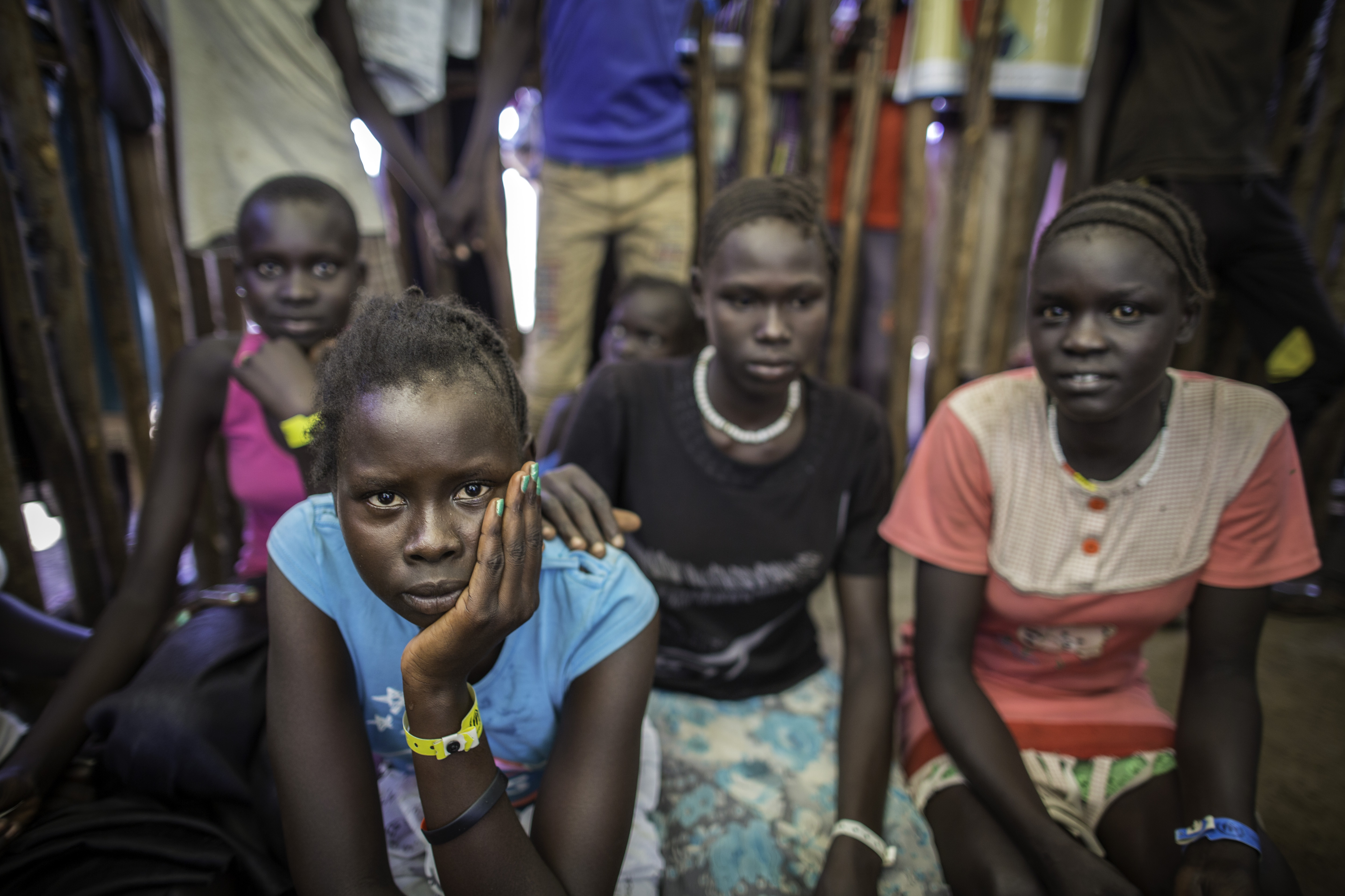 Newly arrived unaccompanied minors from South Sudan wait as they undergo registration in Kule camp, Ethiopia.