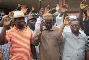 Pledging to end Ebola at the start of the surge in Port Loko district, Sierra Leon