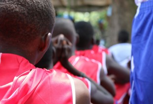 Children associated with the anti-Balaka militia take part in a release ceremony in Bambari in the Central African Republic.
