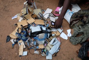 The bags of amulets that children released from the Anti-Balaka group brought to the transit centre.