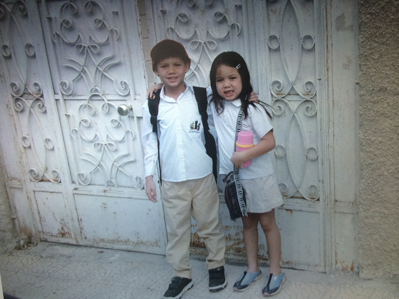 My children wait for the school bus in Syria, several years ago.