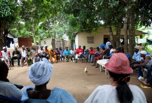 Traditional healers and members of the community from Kaffu Bullom Chiefdom, Port Loko District gather to discuss Ebola prevention and the role of traditional healers
