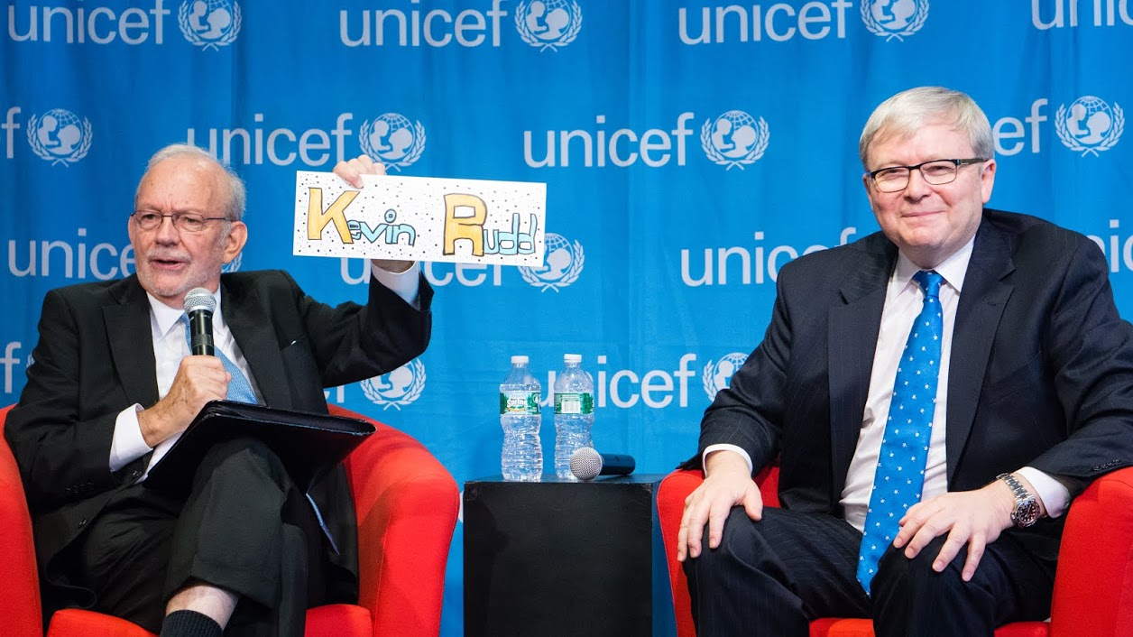 UNICEF Executive Director Anthony Lake, with Kevin Rudd.