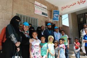 UNICEF staff visit a health center where children were being vaccinated against preventable diseases for the first time in 2015.