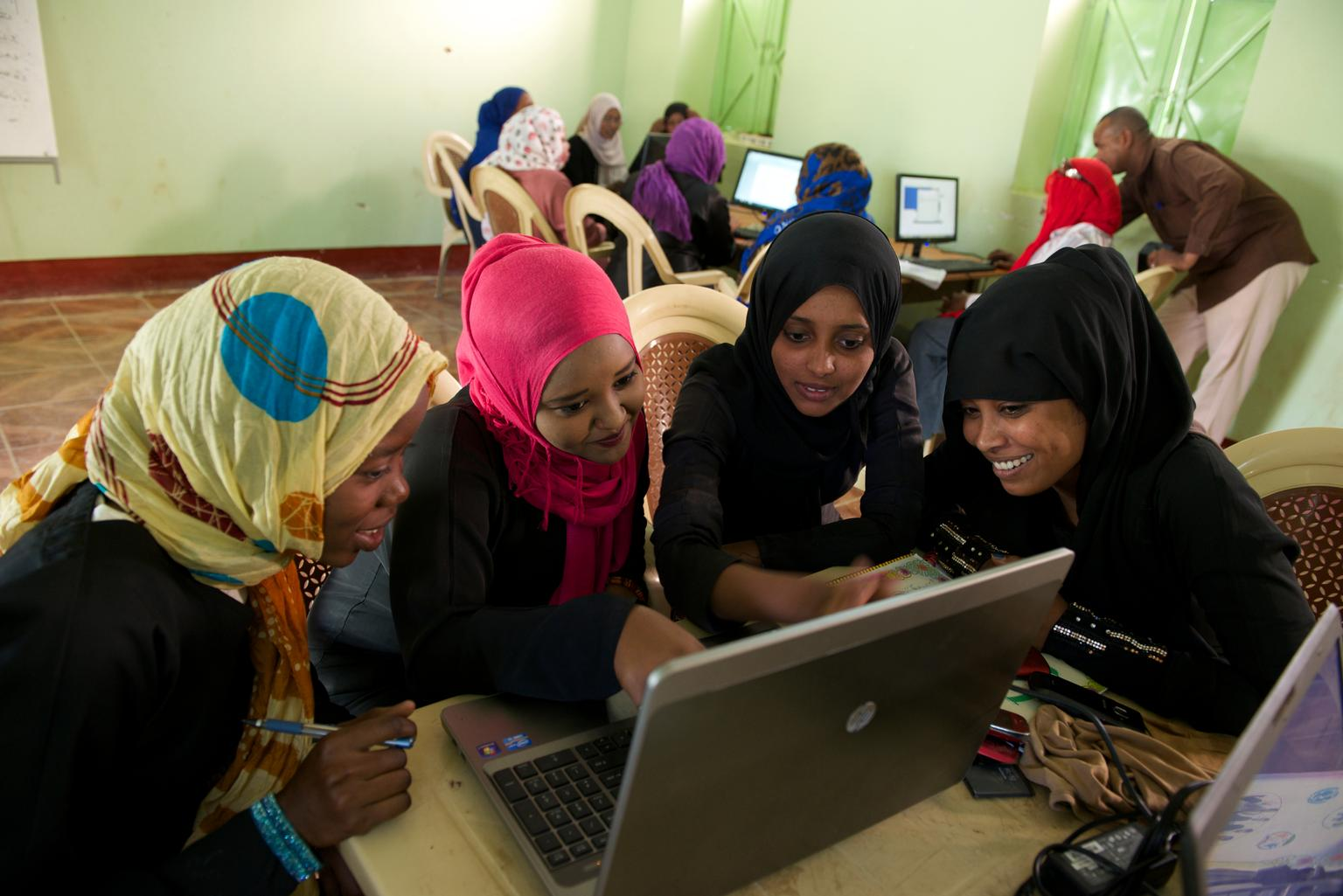 A group of young people attend a computer workshop at a Youth Centre in Kasala. Sudan.