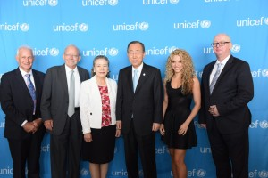 On 22 September 2015, (left-right) Director of the Center on the Developing Child at Harvard University Dr. Jack Shonkoff, UNICEF Executive Director Anthony Lake, Madame Yoo Soon-taek, wife of UN Secretary-General Ban Ki-moon, Secretary-General Ban Ki-moon, UNICEF Goodwill Ambassador Shakira, and The Economist US Business Editor and New York Bureau Chief Matthew Bishop.