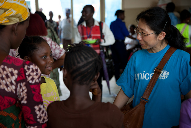 Dr. Lang Ma, UNICEF Education Specialist, Early Childhood Development, at the Child Friendly Space.