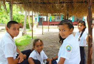 Students at the Michel J. Hasbun Center for Basic Education in Cedeño, Honduras.