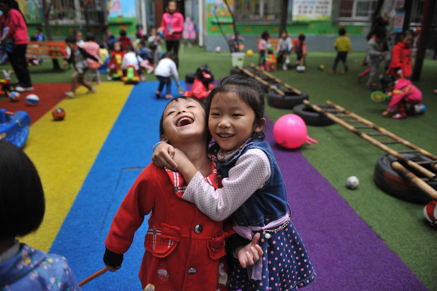 Children at an ECD project in Chongqing, China.