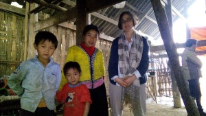 UNICEF staff Alex Yuster with a family in Vietnam.