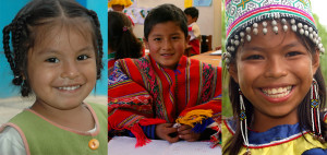 Three different images of children from Peru