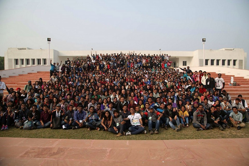 A view of a large group of adolescents.