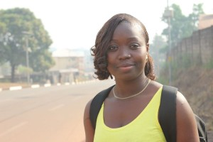 """Famata H. Koroma, a community organizer from the NGO Real Women in Action: """"When going out we're having a lot of challenges. Some don't believe it – it was really a challenge. They told us it was a lie. But at the end we were persistently going out to talk to people and were able to win their favour."""""""