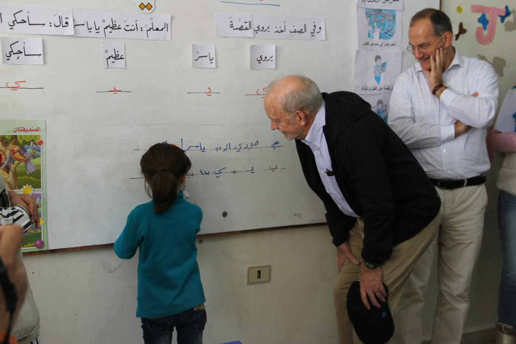 UNICEF Executive Director Lake and UNICEF Regional Director for the Middle East and Africa Peter Salama visit a classroom in Al Wa'er neighbourhood of Homs, Syria.