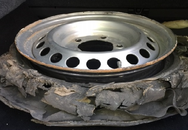 An exploded tire.