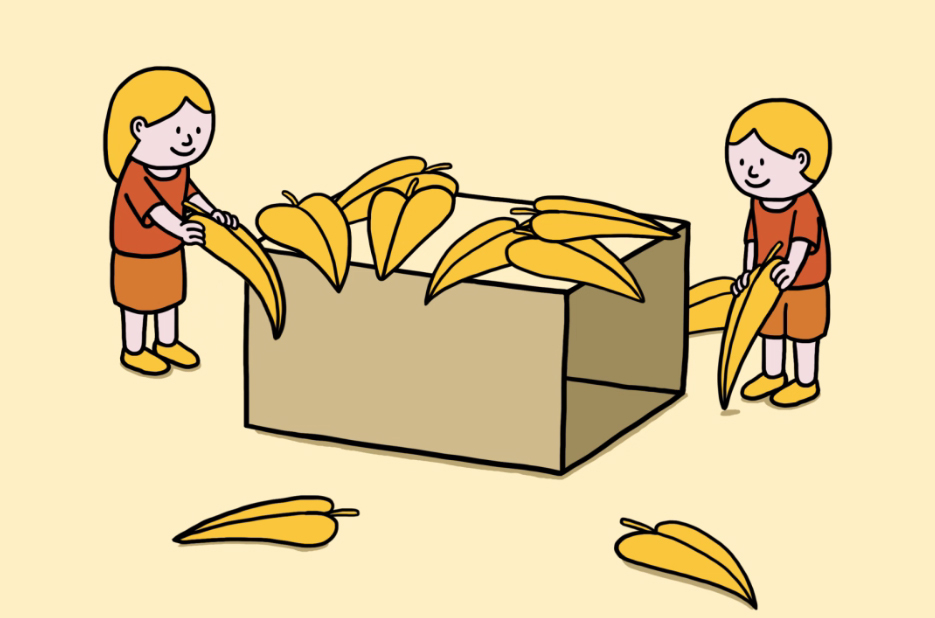Drawing of two small children piling leaves on top of a large cardboard box