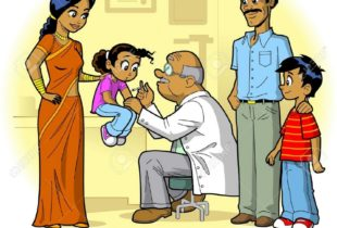 A cartoon shows a man in a white coat holding a child as a woman, man and child look on.