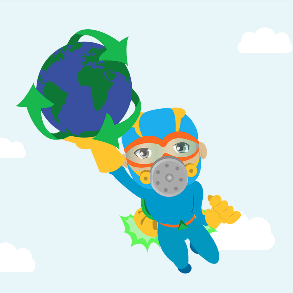 A cartoon character in a blue suit and face mask flies holding a globe.